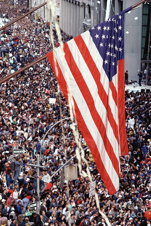 American Flag Hanging Over Crowd Photograph by Visionsofamerica/joe Sohm