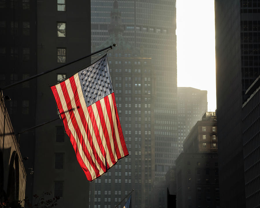 American Flag In New York City Photograph by John Manno