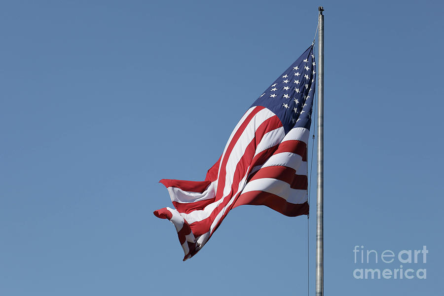 Flag Photograph - American Flag Waving by Edward Fielding