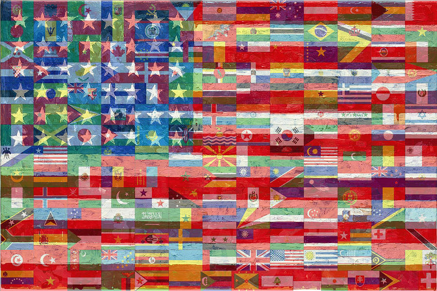Liberty Painting - American Flags Of The World by Tony Rubino