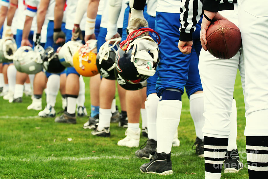 College Photograph - American Football Equipment - Helmet by Pixel 4 Images