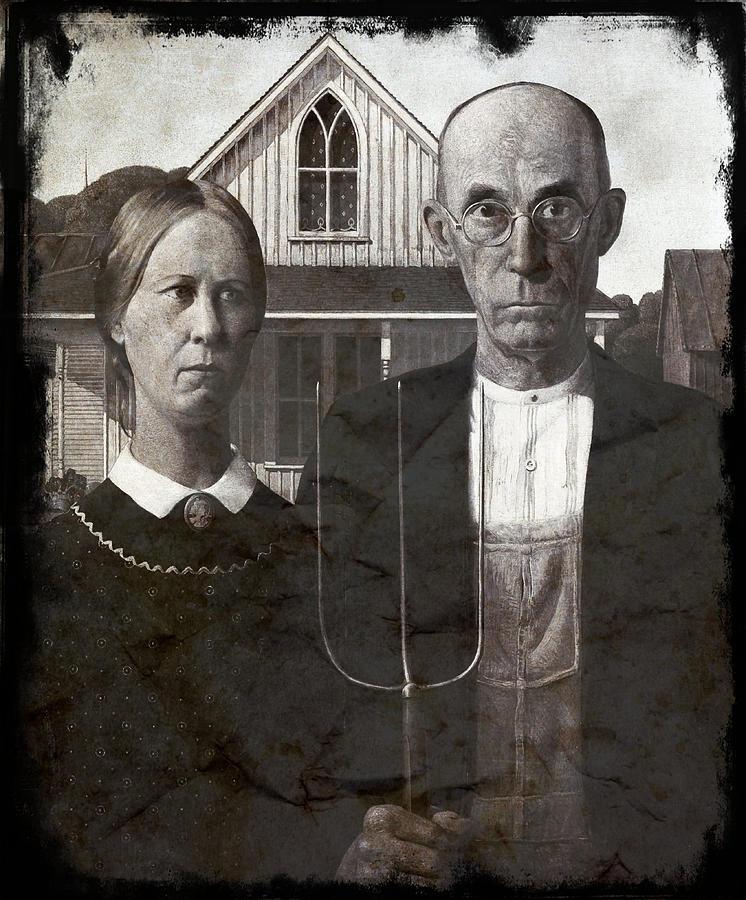 American Gothic Grant Wood V11 Digital Art By Jonathan Palgon