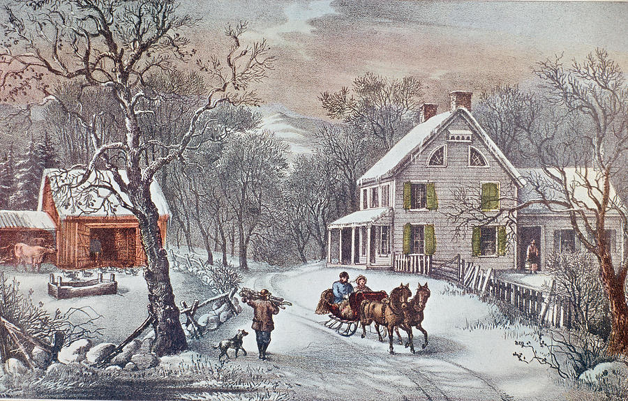 American Homestead Winter Photograph by Hulton Archive