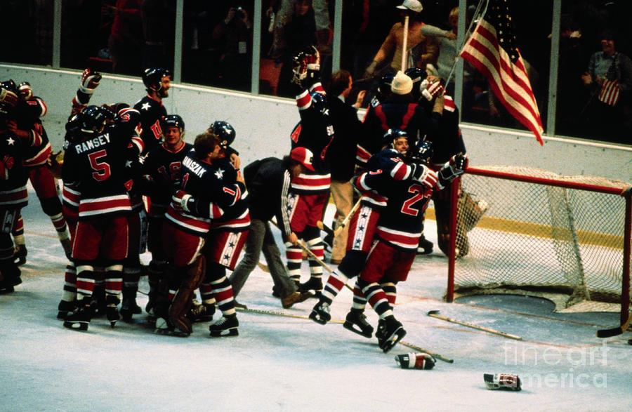 American Ice Hockey Team Celebrating Photograph by Bettmann