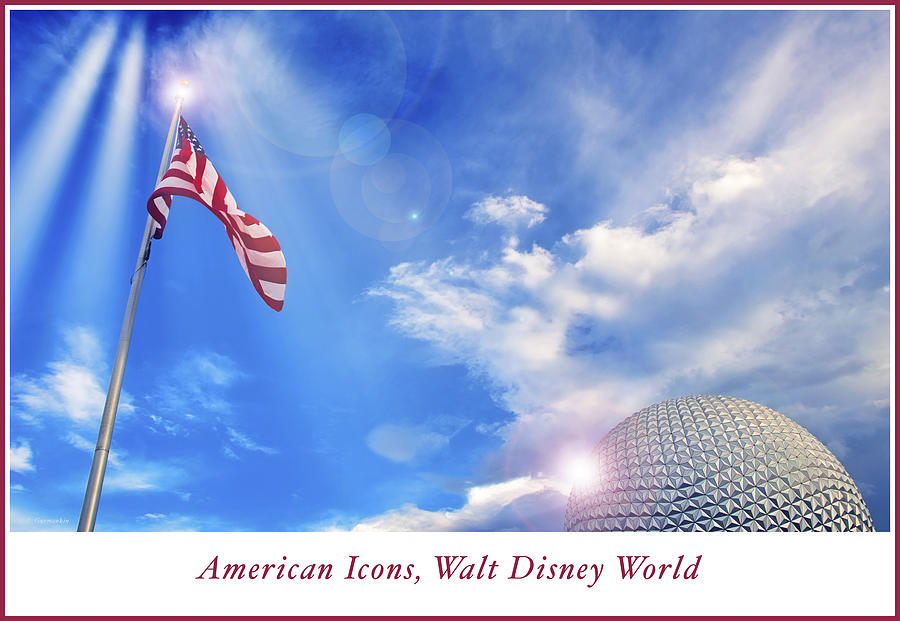 American Icons, Old Glory, EPCOT Spaceship Earth by A Gurmankin