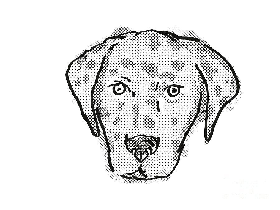 Retro Digital Art - American Leopard Hound Dog Breed Cartoon Retro Drawing by Aloysius Patrimonio