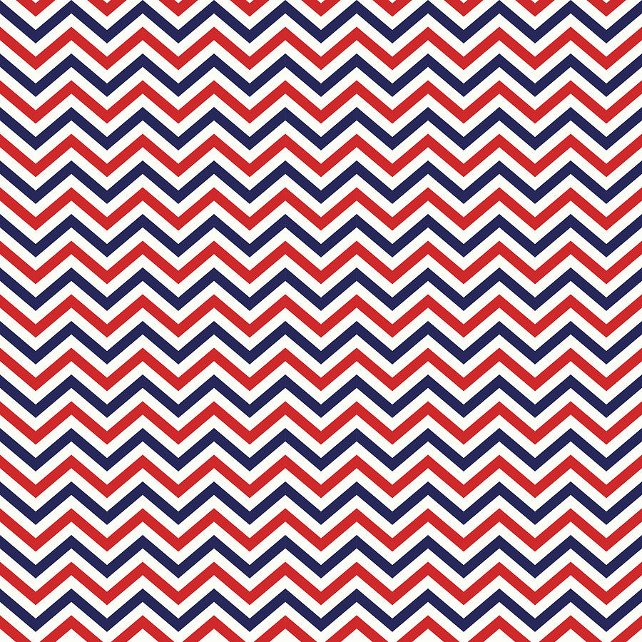 Chevron Mixed Media - American National Colors Red White Blue Zigzag Seamless Pattern by Mohamed Rasik
