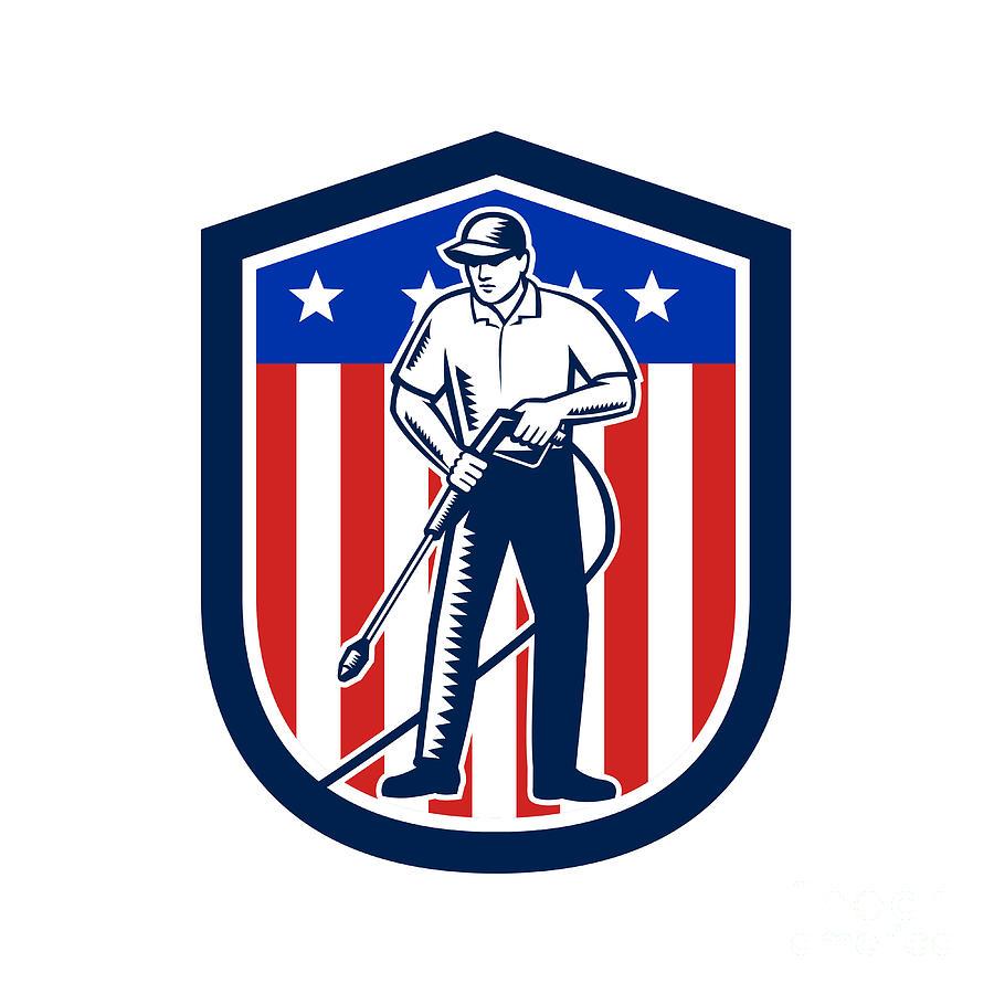 Retro Digital Art - American Pressure Washing Usa Flag Shield Retro by Aloysius Patrimonio