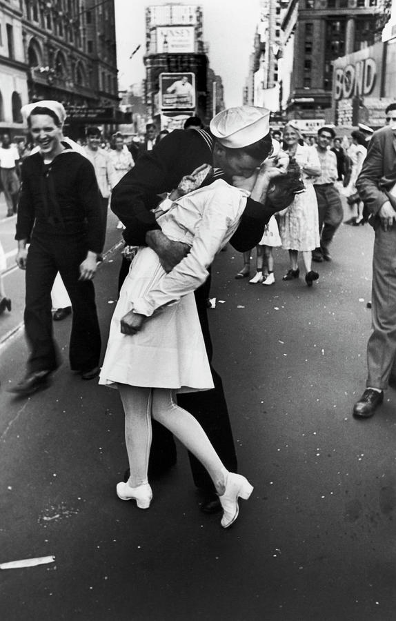 American Sailor Kisses White-uniformed Photograph by Alfred Eisenstaedt