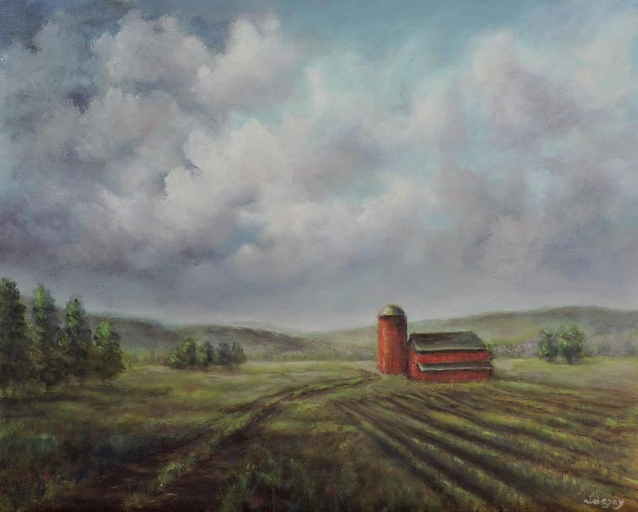 American scene Red Barn  by Katalin Luczay