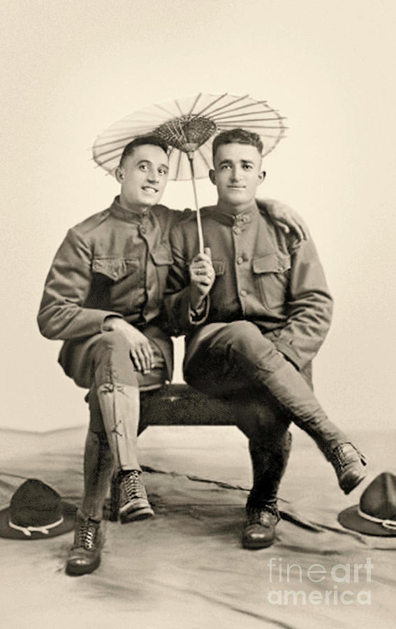 1915 Photograph - American Soldiers With A Parasol Circa 1915 by American School