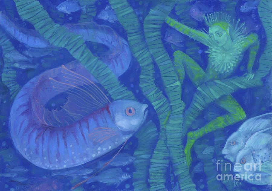 Aquatic Animals Painting - Amphibian and the Fish King, fantasy art, Underwater by Julia Khoroshikh
