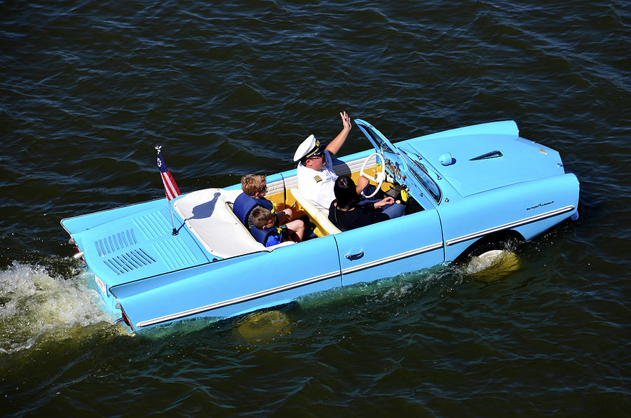 Amphicar blue at Disney Springs Florida by David Lee Thompson