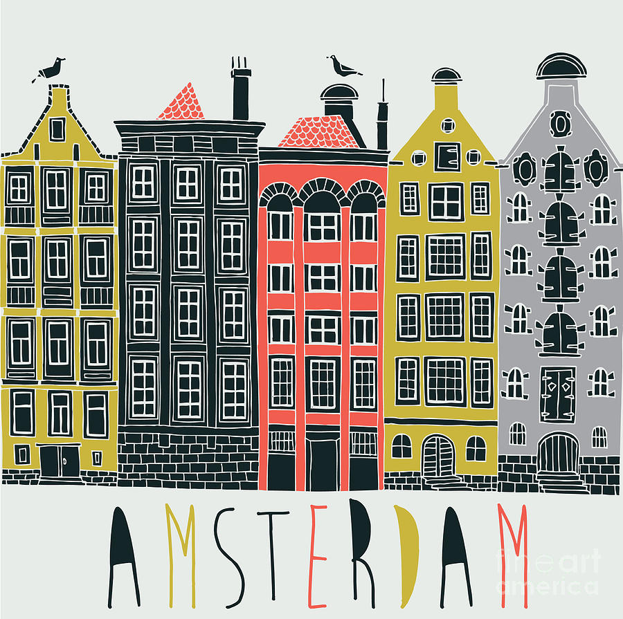 Seamless Digital Art - Amsterdam Canal Houses by Lavandaart