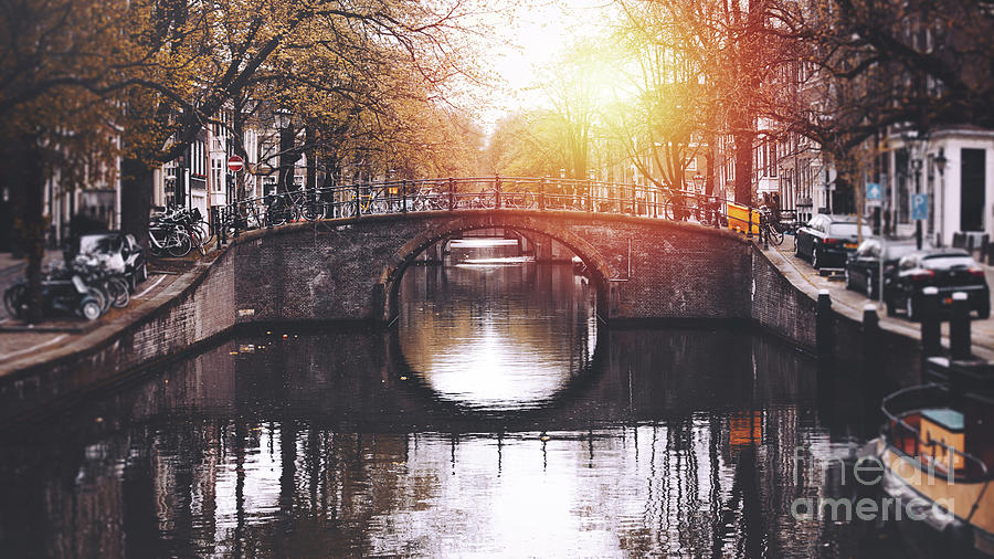 Amsterdam Cityscape With Canal Photograph by Serts