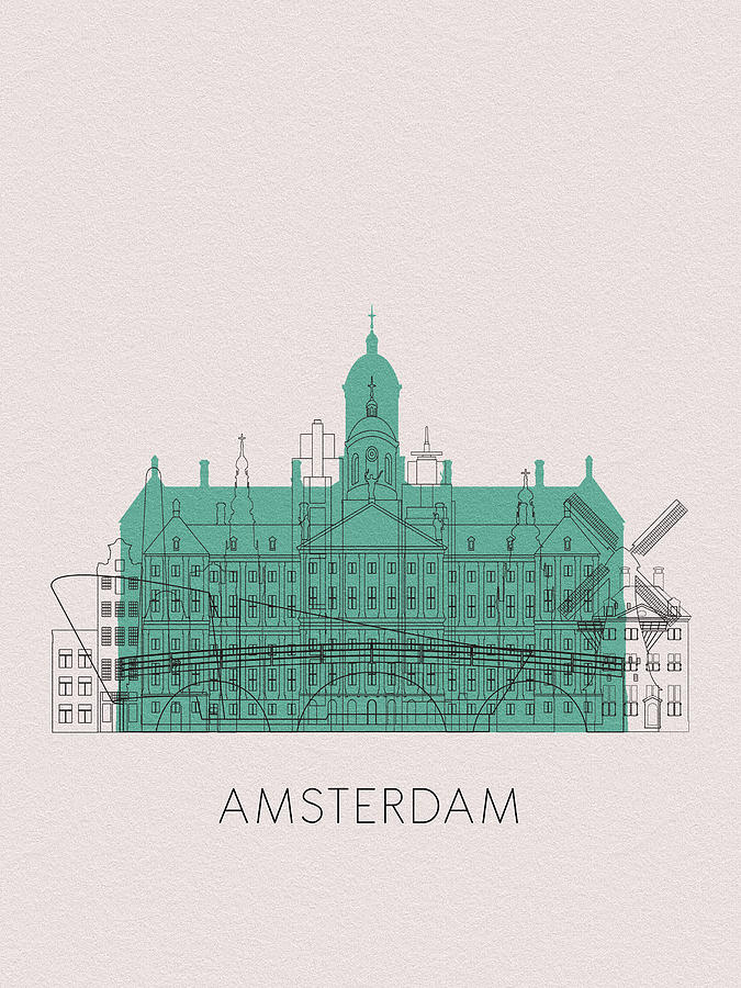 Amsterdam Digital Art - Amsterdam Landmarks by Inspirowl Design