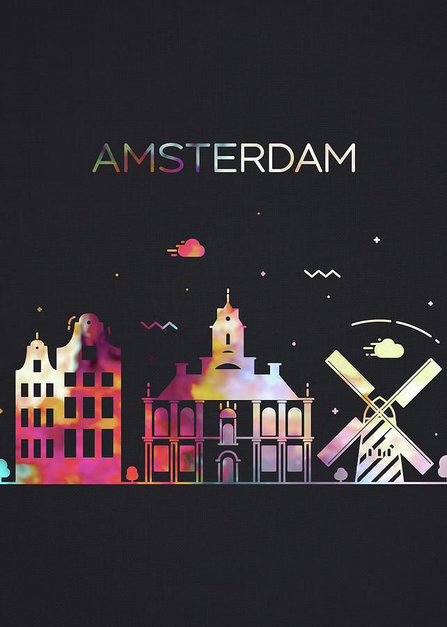 Amsterdam Mixed Media - Amsterdam Netherlands City Skyline Whimsical Fun Dark Tall Series by Design Turnpike