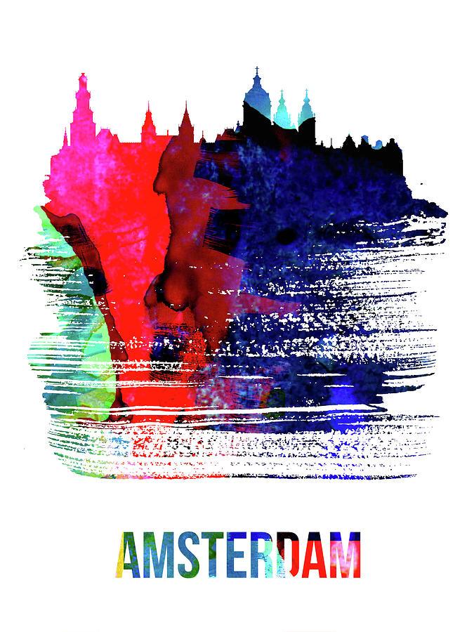Amsterdam Mixed Media - Amsterdam Skyline Brush Stroke Watercolor   by Naxart Studio