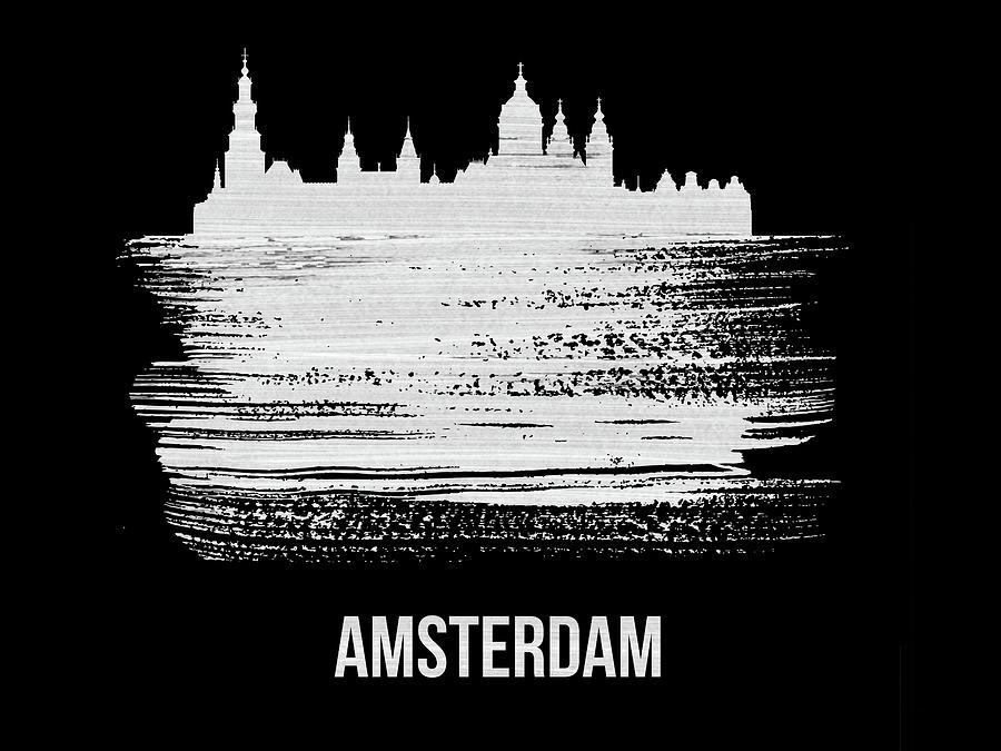 Amsterdam Mixed Media - Amsterdam Skyline Brush Stroke White by Naxart Studio