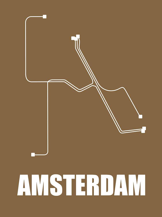 Amsterdam Digital Art - Amsterdam Subway Map 2 by Naxart Studio