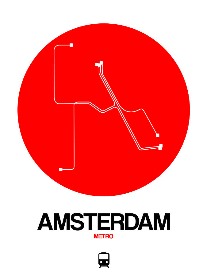 Amsterdam Digital Art - Amsterdam White Subway Map by Naxart Studio