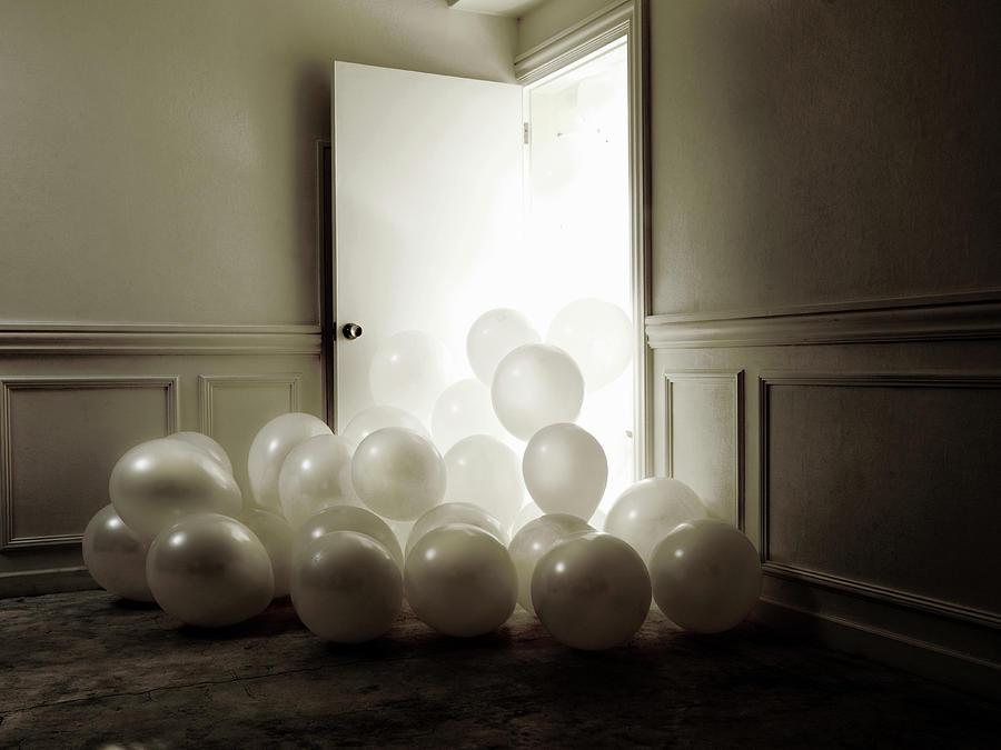 An Abundance Of White Balloon Overflow Photograph by Michael H