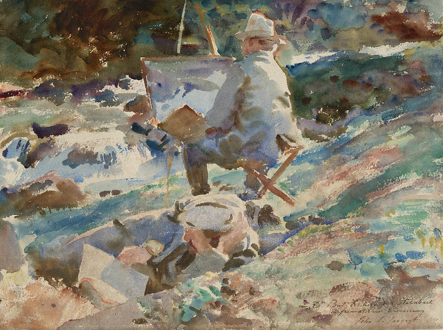 Impressionism Drawing - An Artist At His Easel by John Singer Sargent