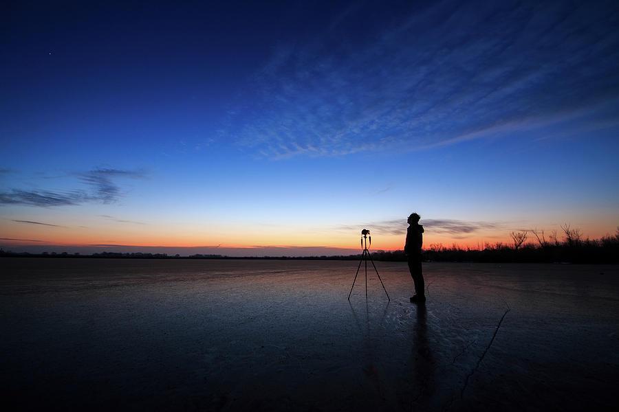 Horizontal Photograph - An Asrophotographer Capturing by Jeff Dai