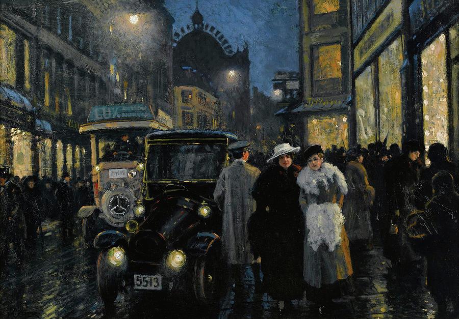 Paul Gustav Fischer Painting - An Evening Stroll On The Boulevard by Paul Gustav Fischer