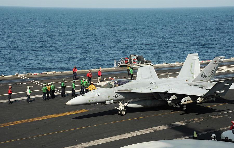 An Fa-18e Super Hornet Prepares To Take by Stocktrek Images