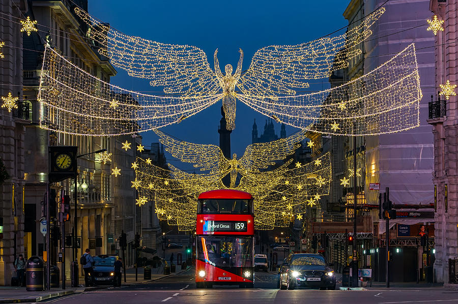 A Double Decker Bus Seen In London, During Christmas, At Piccadilly Circus. Photograph
