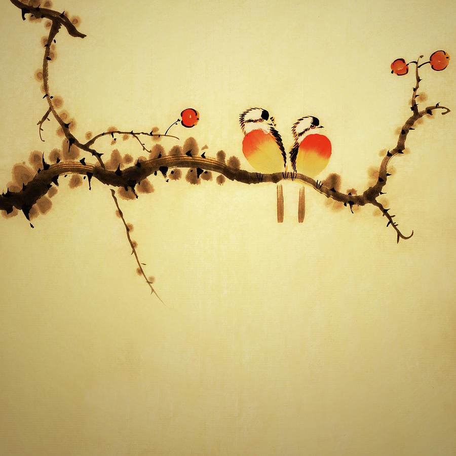 An Illustration Of Two Birds On A Branch Digital Art by Vii-photo