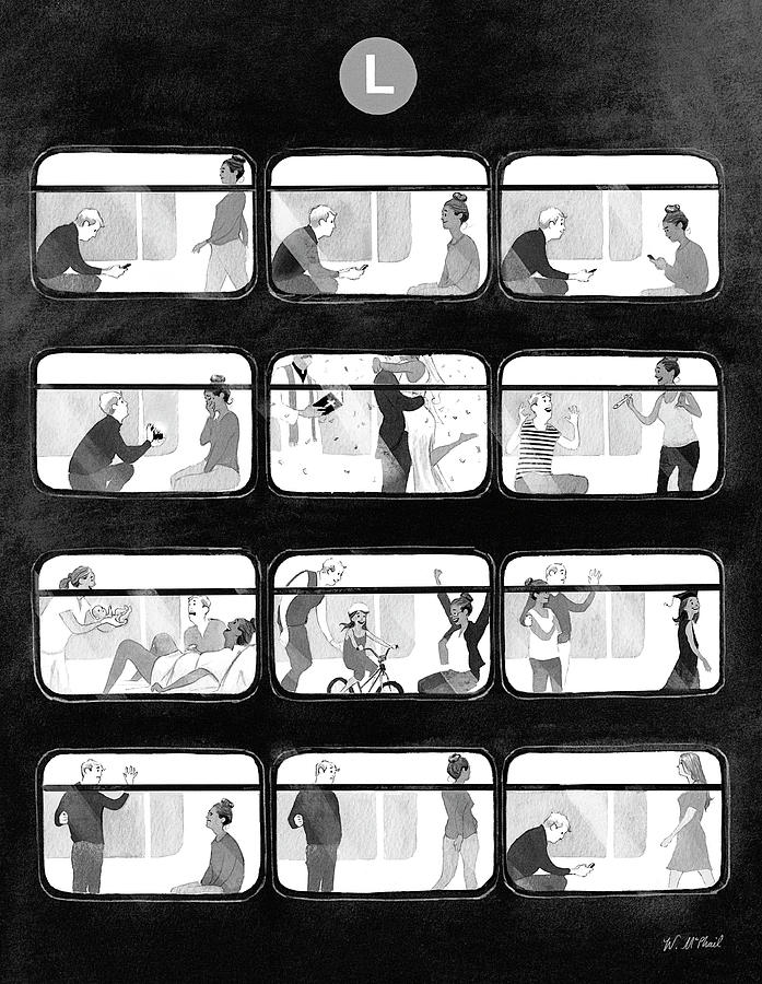An L Train Love Story Drawing by Will McPhail