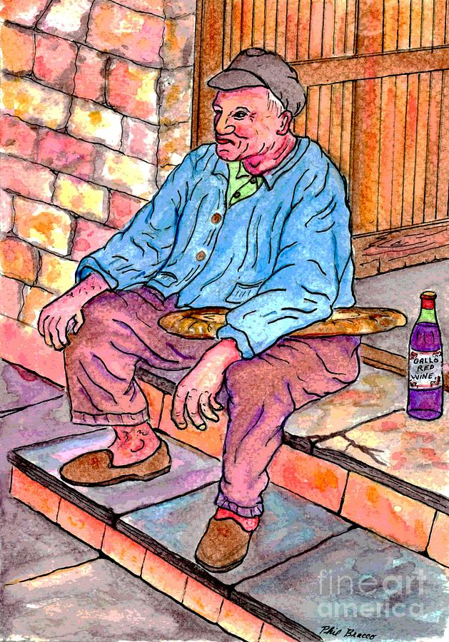 An Old Italian Man With His Bread and Wine by Philip and Robbie Bracco