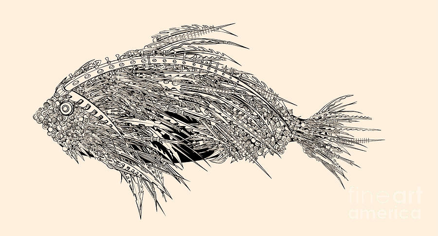 Pencil Art Digital Art - Anatomy Of A Fish. Robot Spiked Fish by Ryger