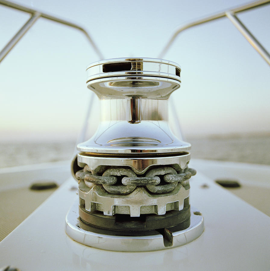 Anchor Winch On Bow Of Yacht Photograph by Joe Mcbride