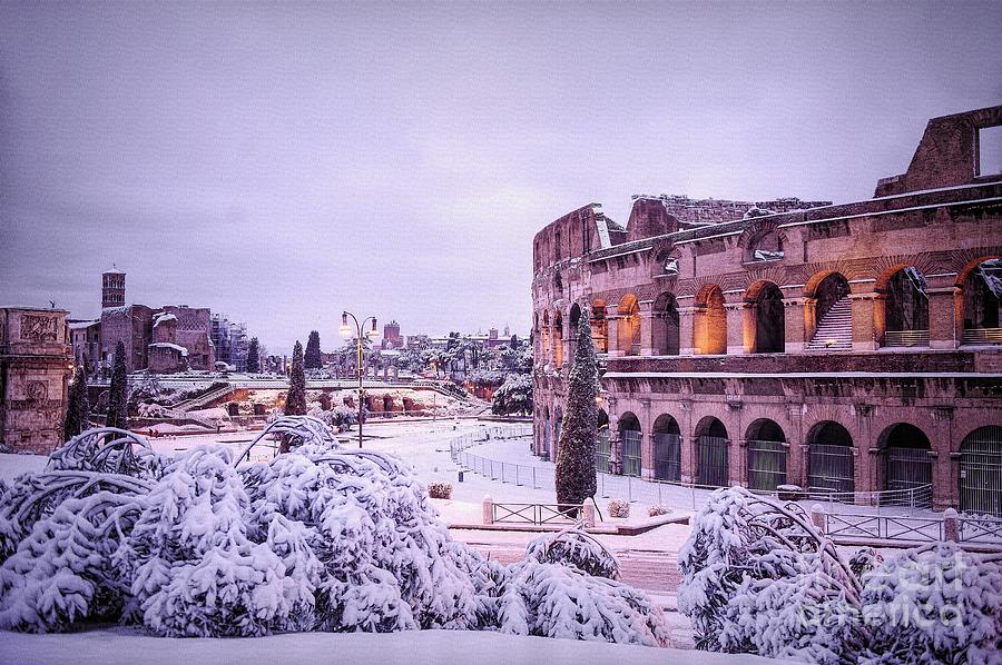 Snow Photograph - Ancient Rome covered in rare snowfall by Stefano Senise
