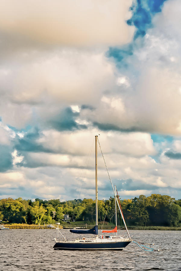 Ancored Sailboat On A Cloudy Morning by Gary Slawsky