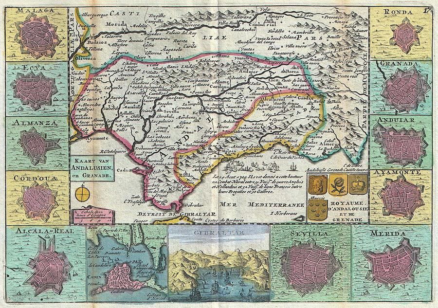 Andalusia Sevilla Or Seville Spain Antique Map 1747