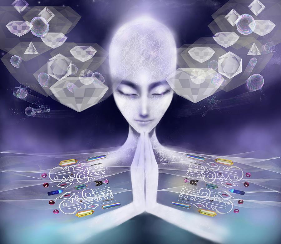 Visionary Digital Art - Andromeda Light Blessing  by Karen Elsworth-Extradimensional