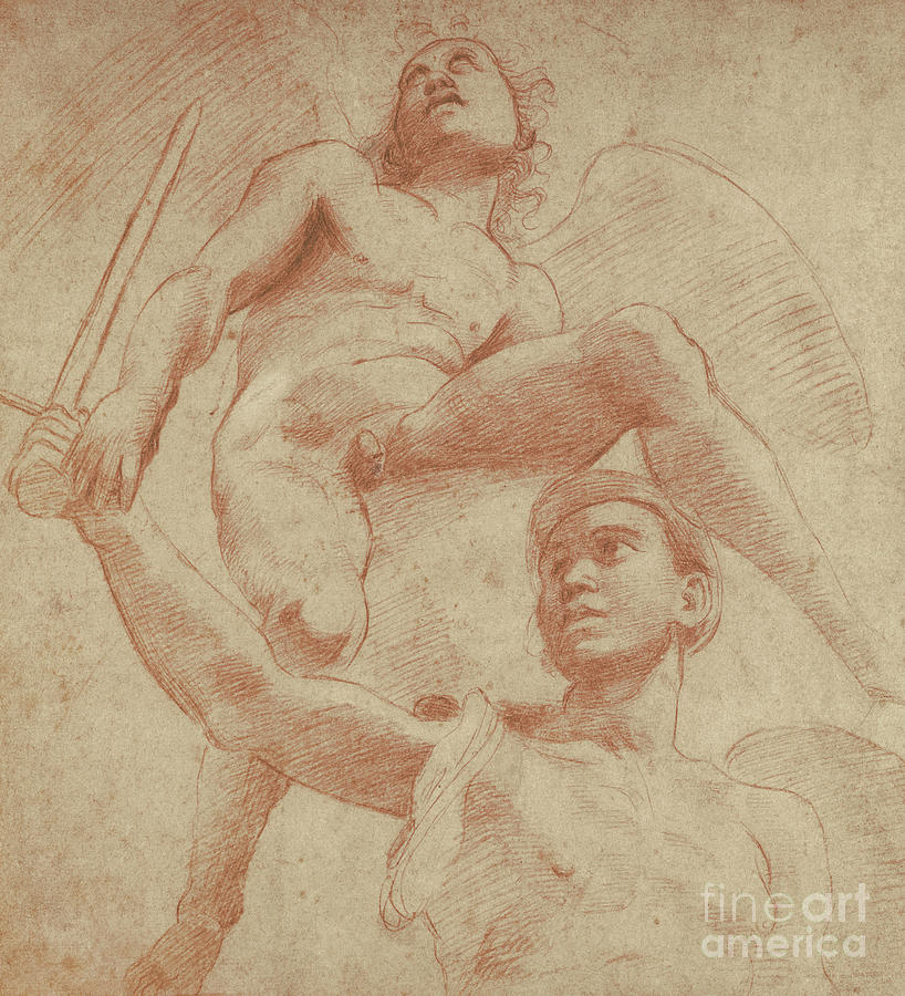 Raphael Drawing - Angel And A Figure Representing The Planet Mars by Raphael