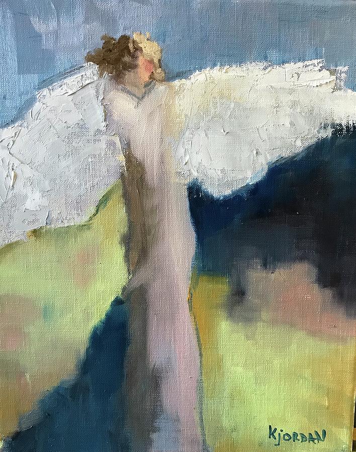 Angel Painting - Angel In Blue by Karen Jordan