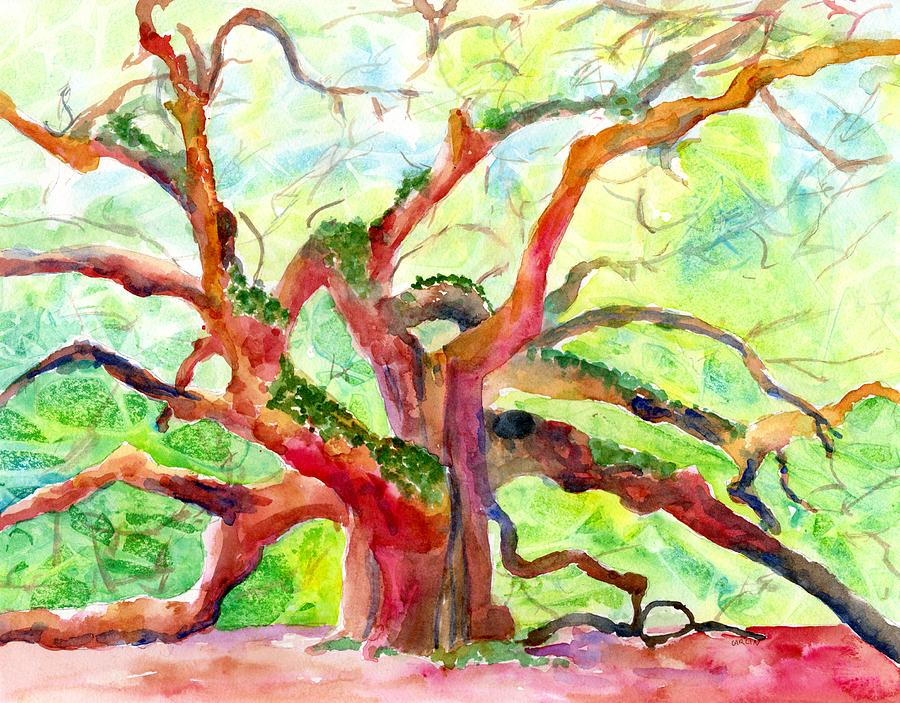 Angel Oak Tree in Sunshine by Carlin Blahnik CarlinArtWatercolor