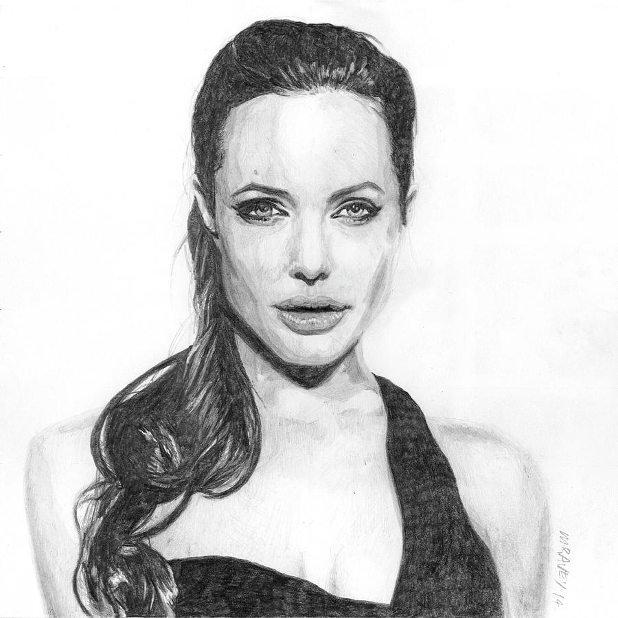 Angelina Jolie Drawing - Angelina by Michel Ravey