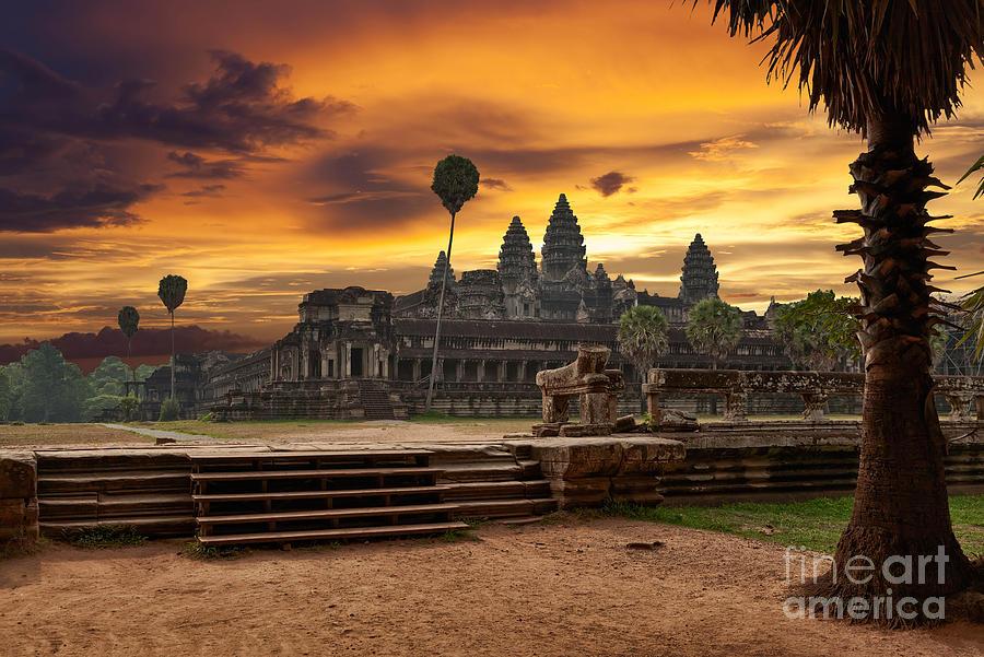 Civilization Photograph - Angkor Wat At Sunset by Muzhik