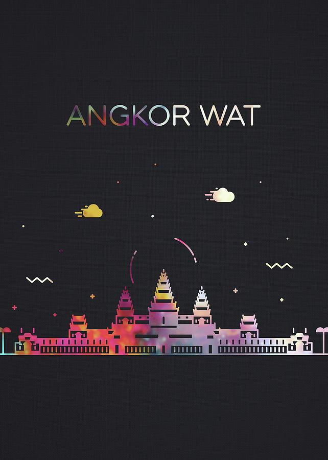 Angkor Wat Mixed Media - Angkor Wat Cambodia City Skyline Whimsical Fun Dark Tall Series by Design Turnpike