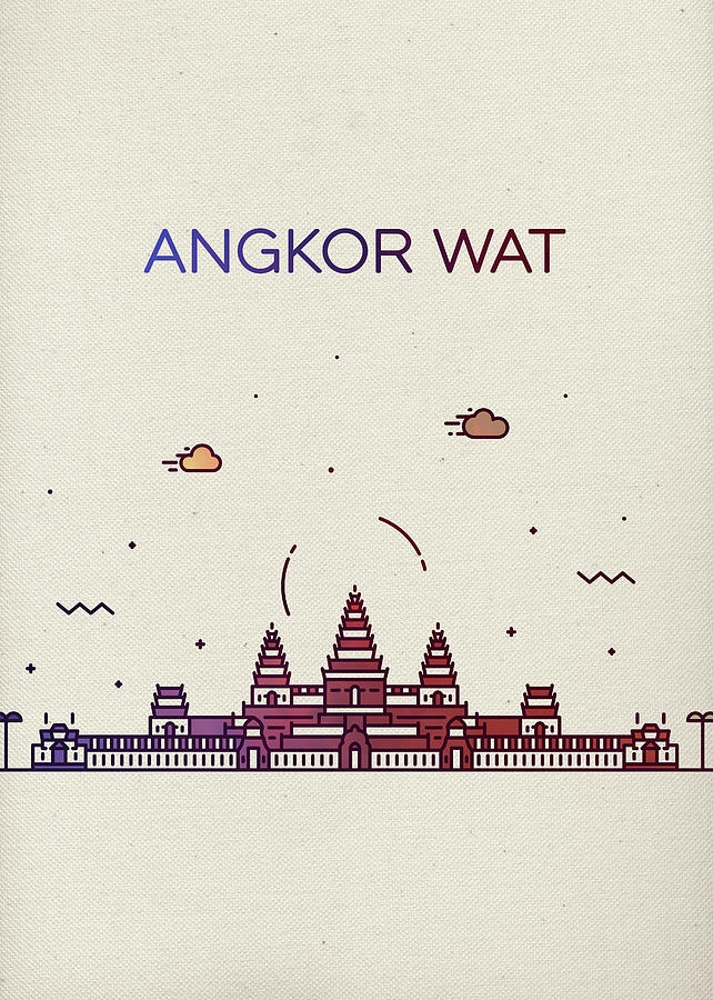 Angkor Wat Mixed Media - Angkor Wat City Skyline Whimsical Fun Tall Bright Series by Design Turnpike