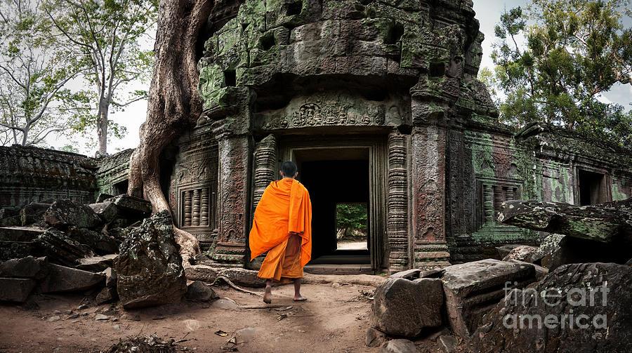 Civilization Photograph - Angkor Wat Monk. Ta Prohm Khmer Ancient by Banana Republic Images