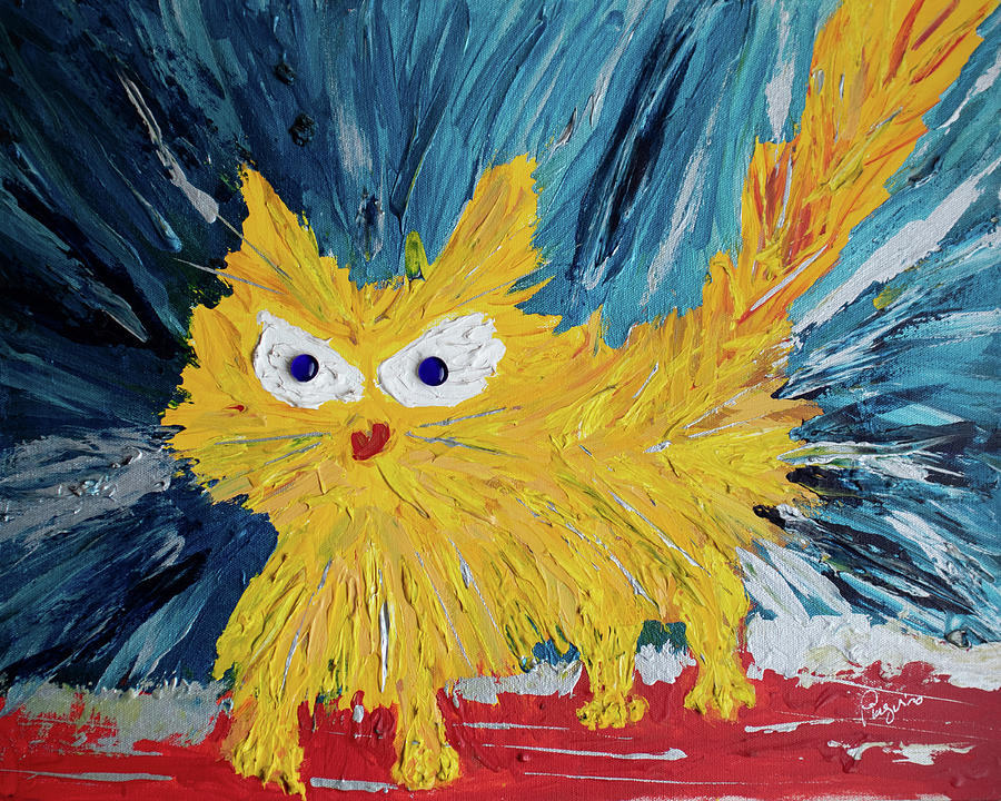 Angry Painting - Angry Cat by Pinguino Kolb