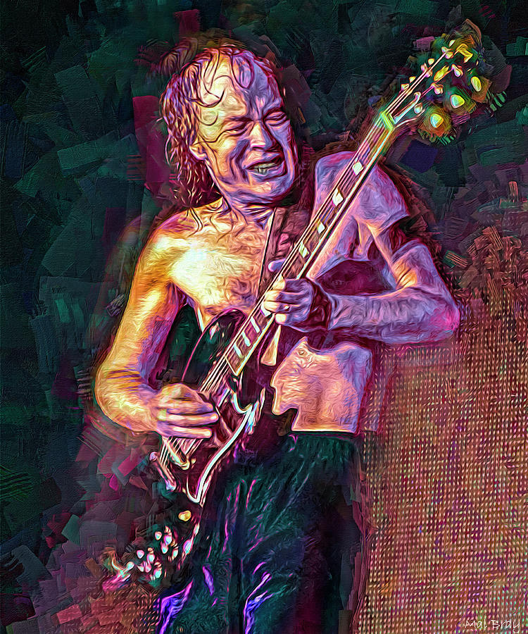 Angus Young Mixed Media - Angus Young by Mal Bray